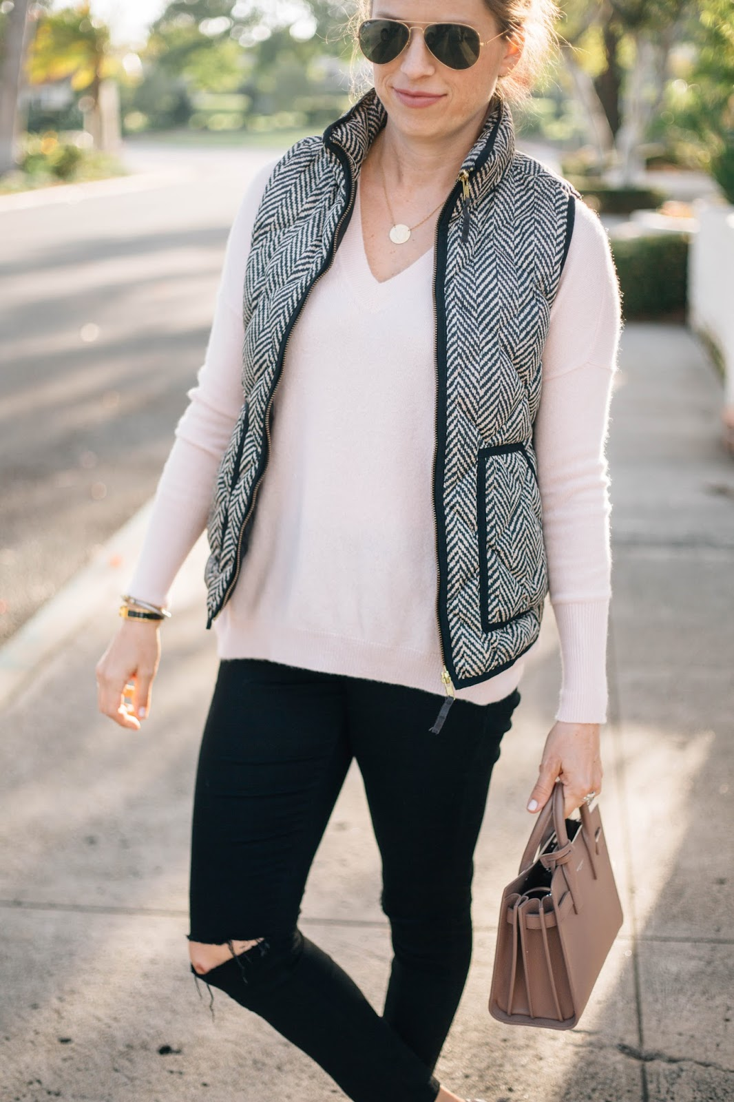 herringbone puffer vest outfit