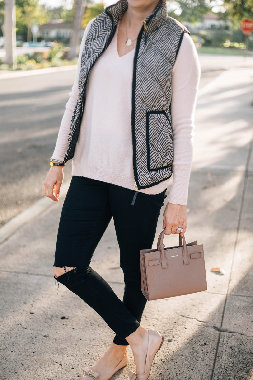 blush sweater and vest outfit