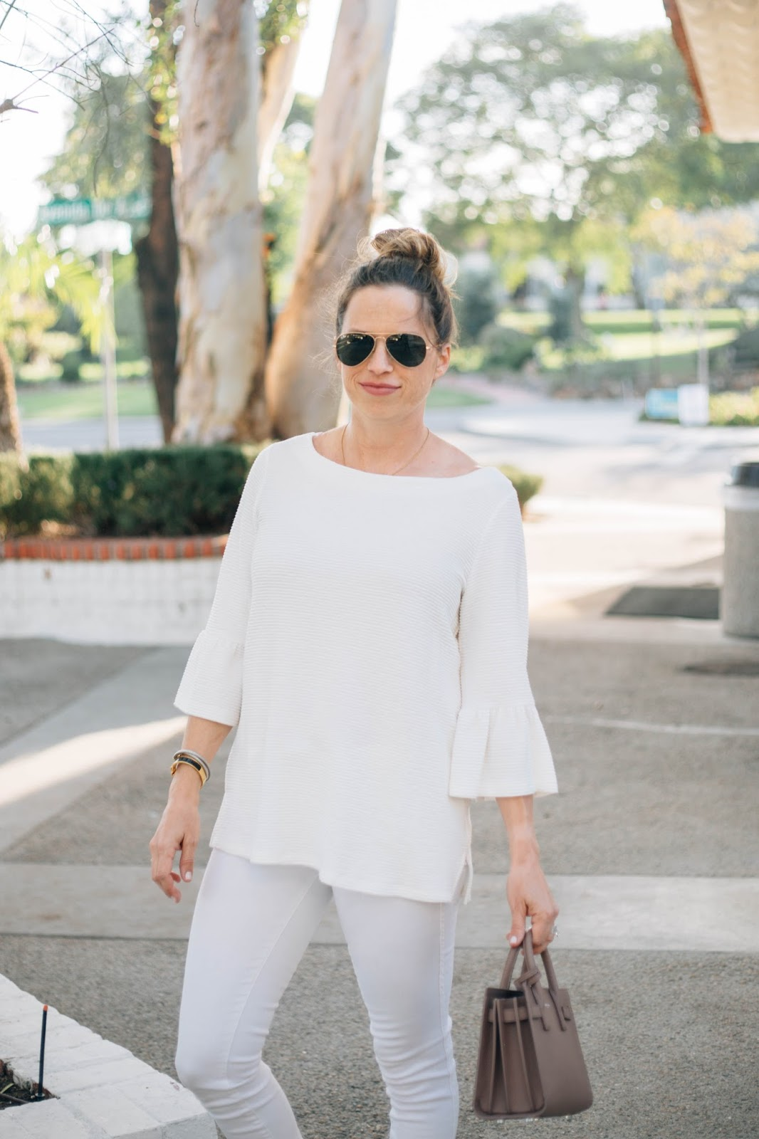 bell sleeve all white outfit