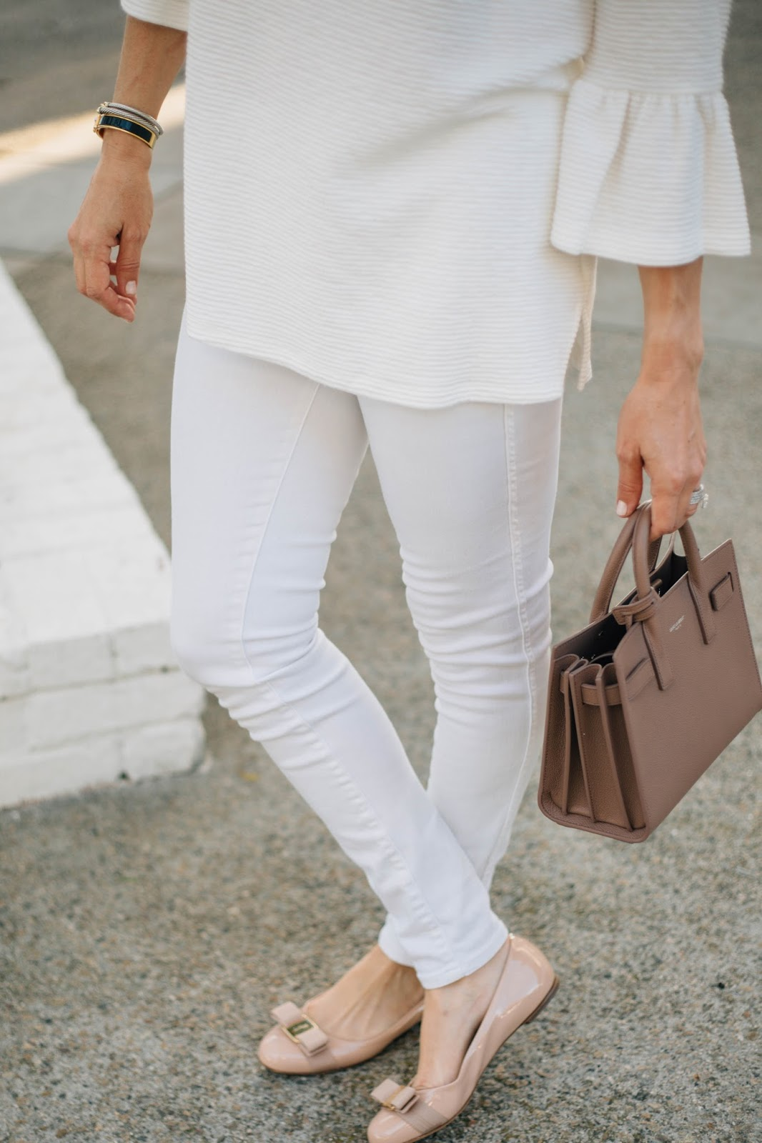 pink bow flats and white outfit