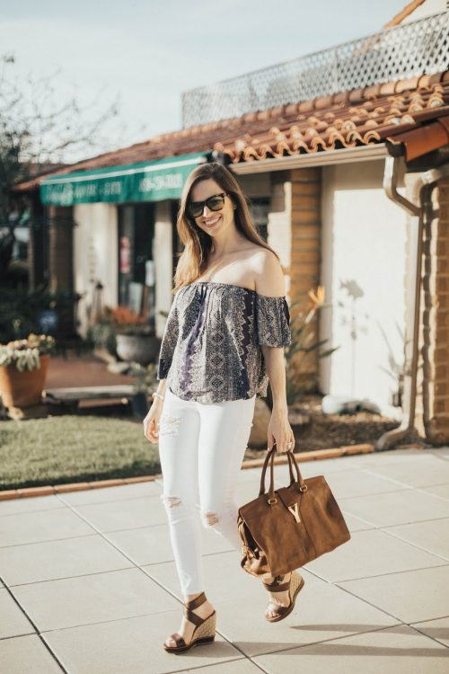 navy paisley off the shoulder