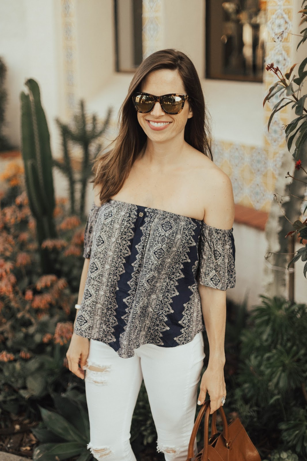 off the shoulder top and mirrored sunglasses