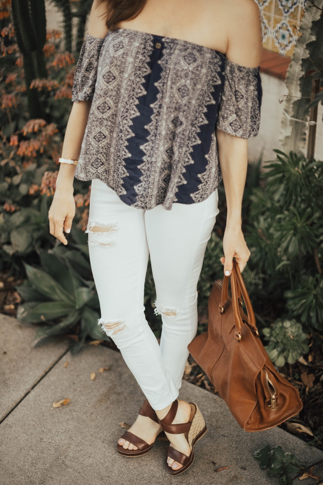 espadrilles and white distressed denim