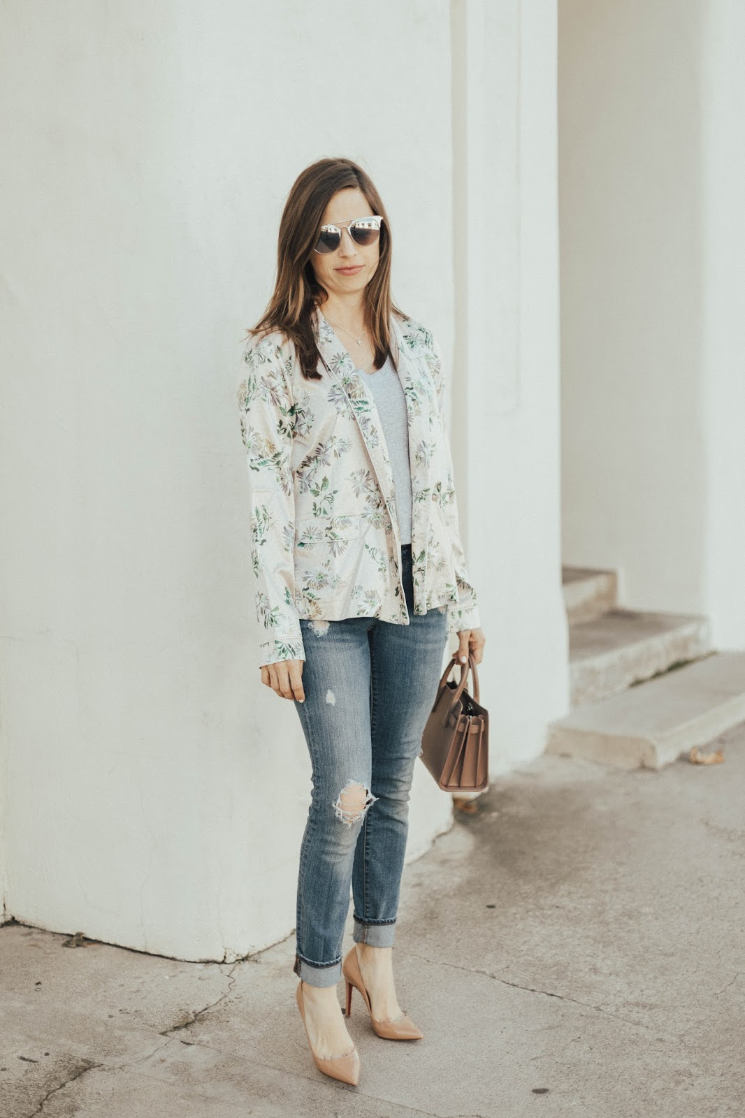 distressed denim and floral jacket outfit