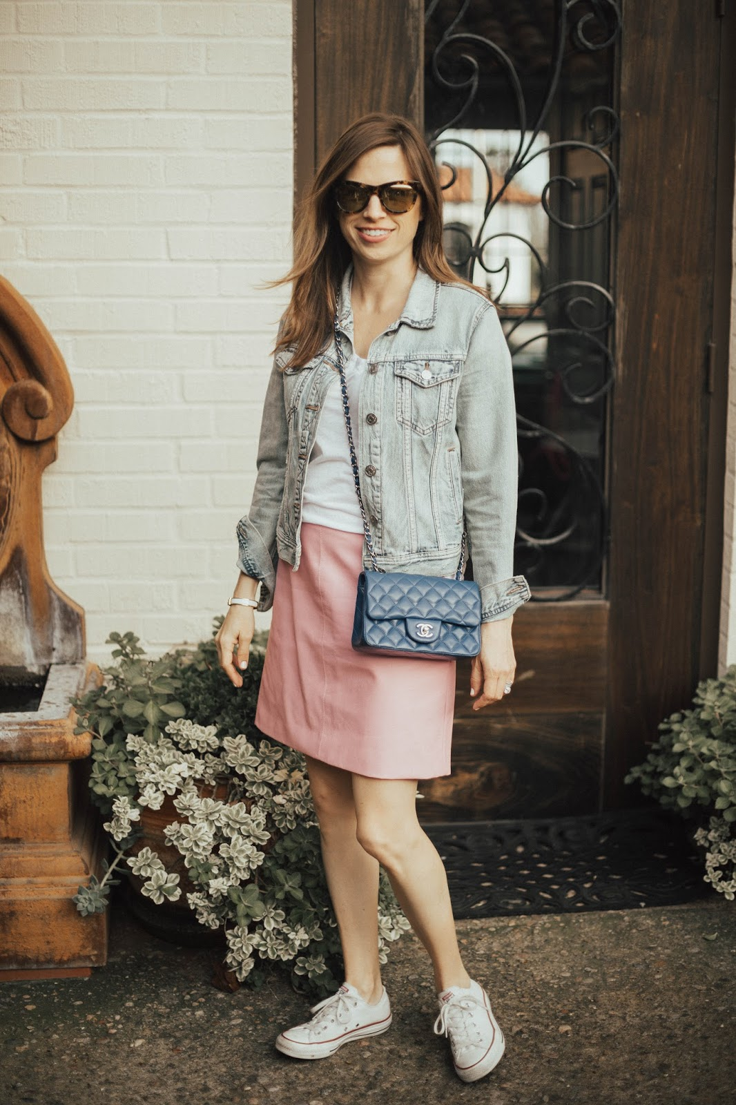 blue chanel and pink leather skirt