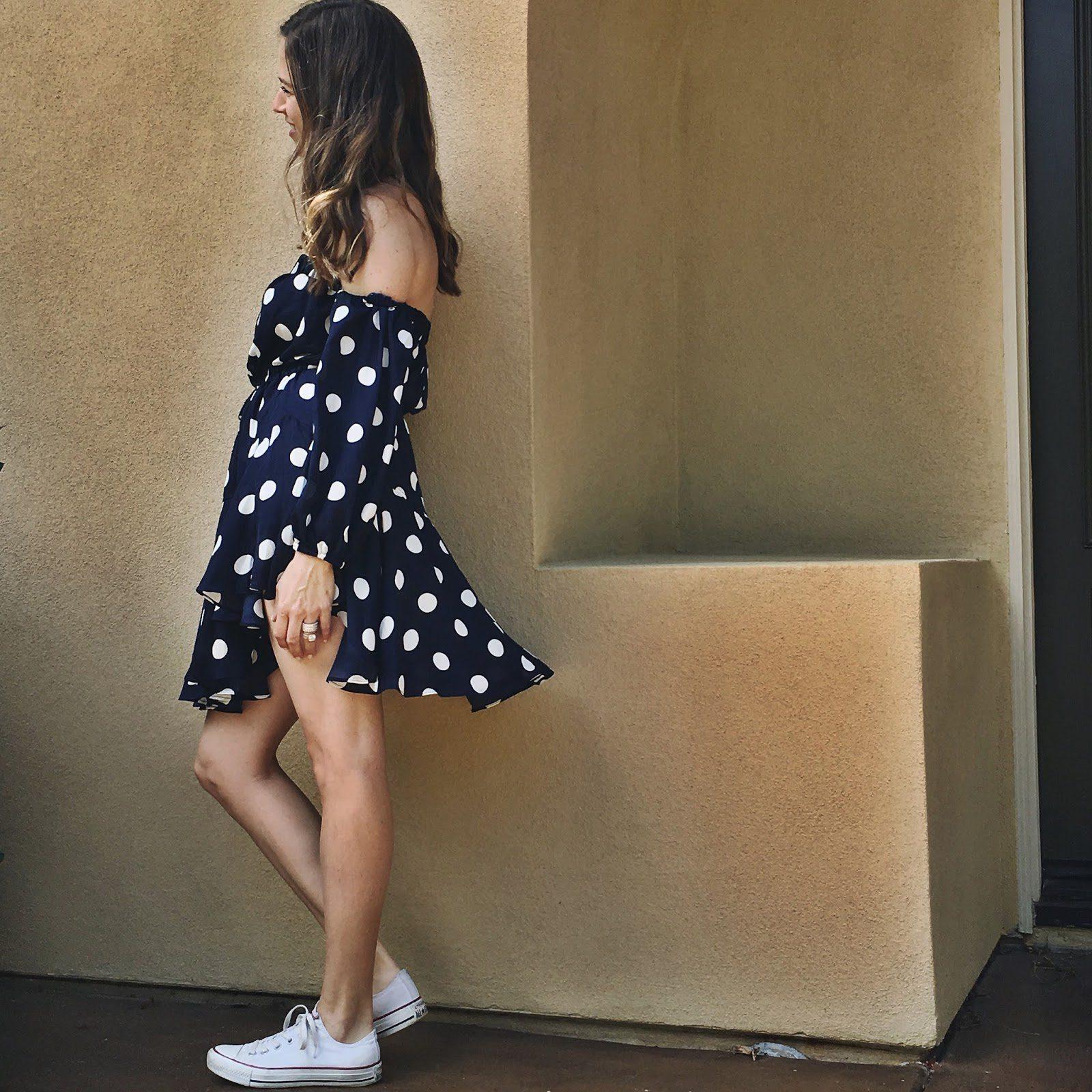 polka dot off the shoulder dress