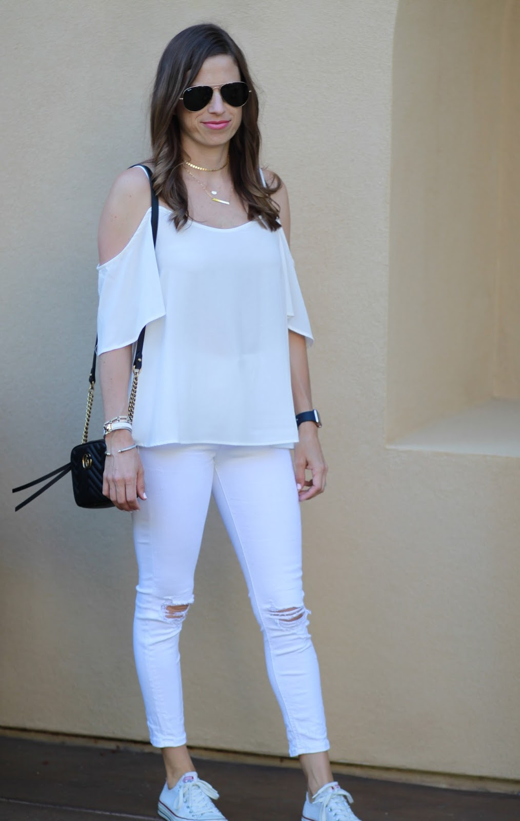 all white cold shoulder outfit