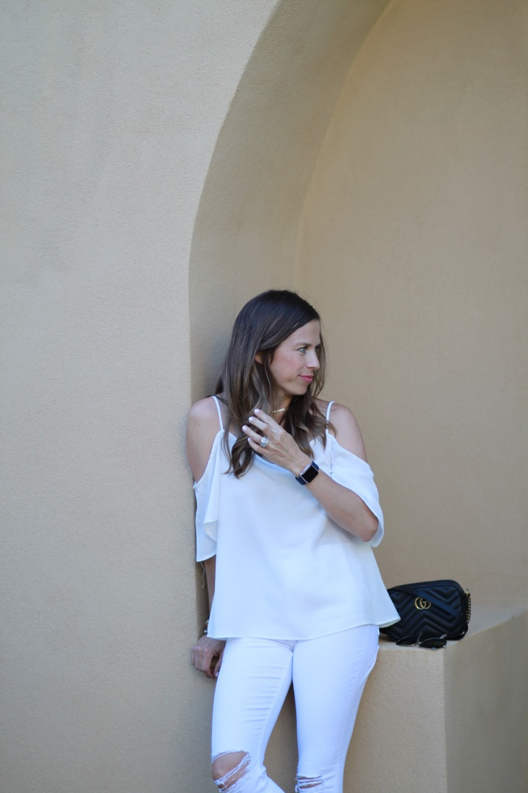white cold shoulder top