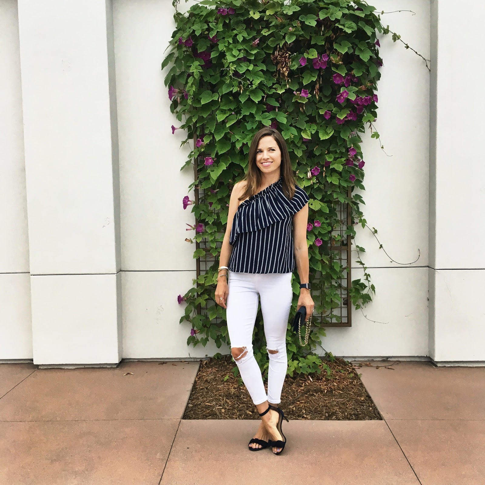 navy and white one shoulder top
