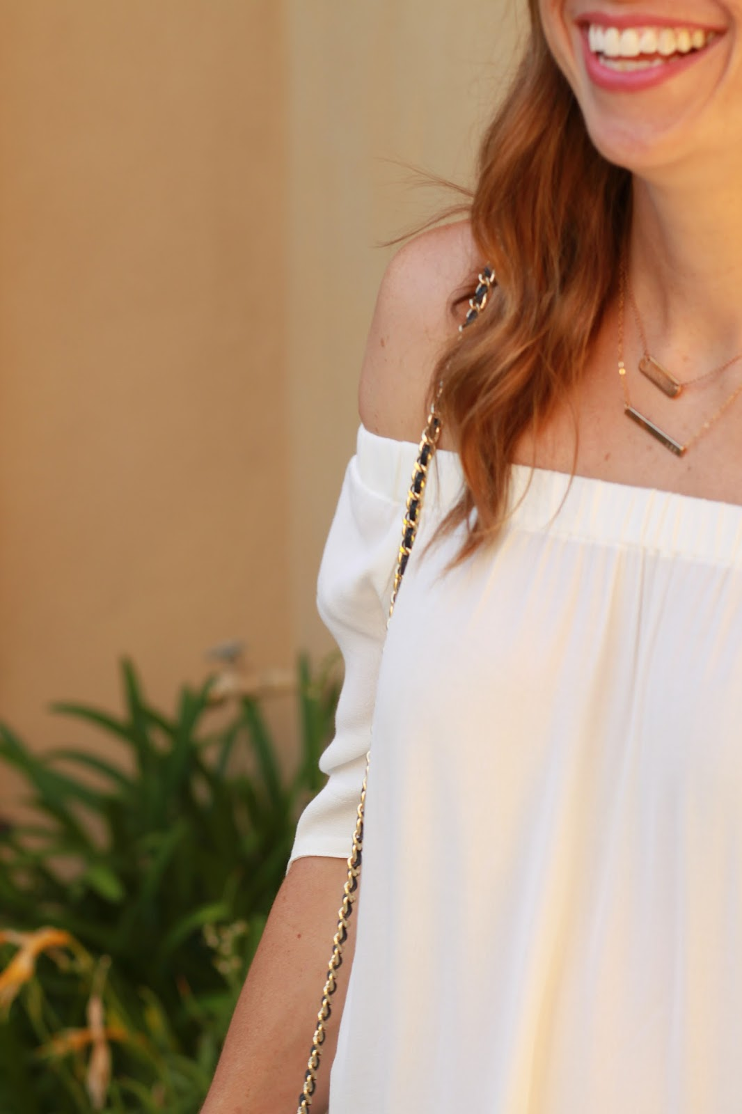 white off the shoulder top outfit