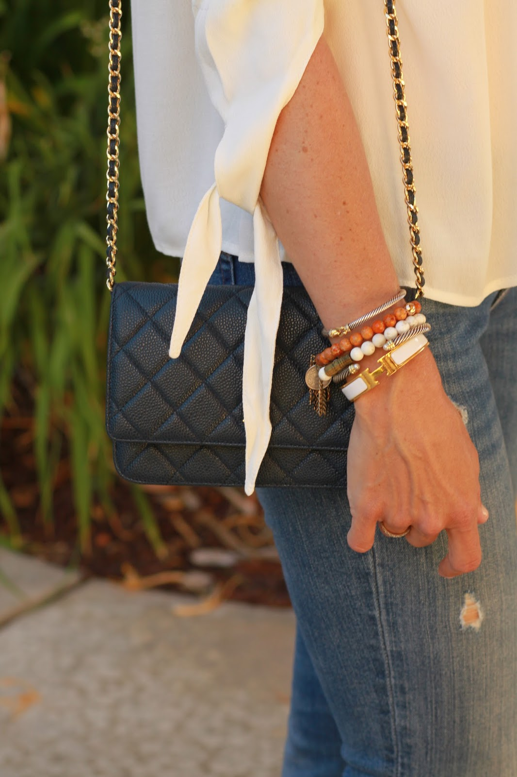 navy chanel woc outfit