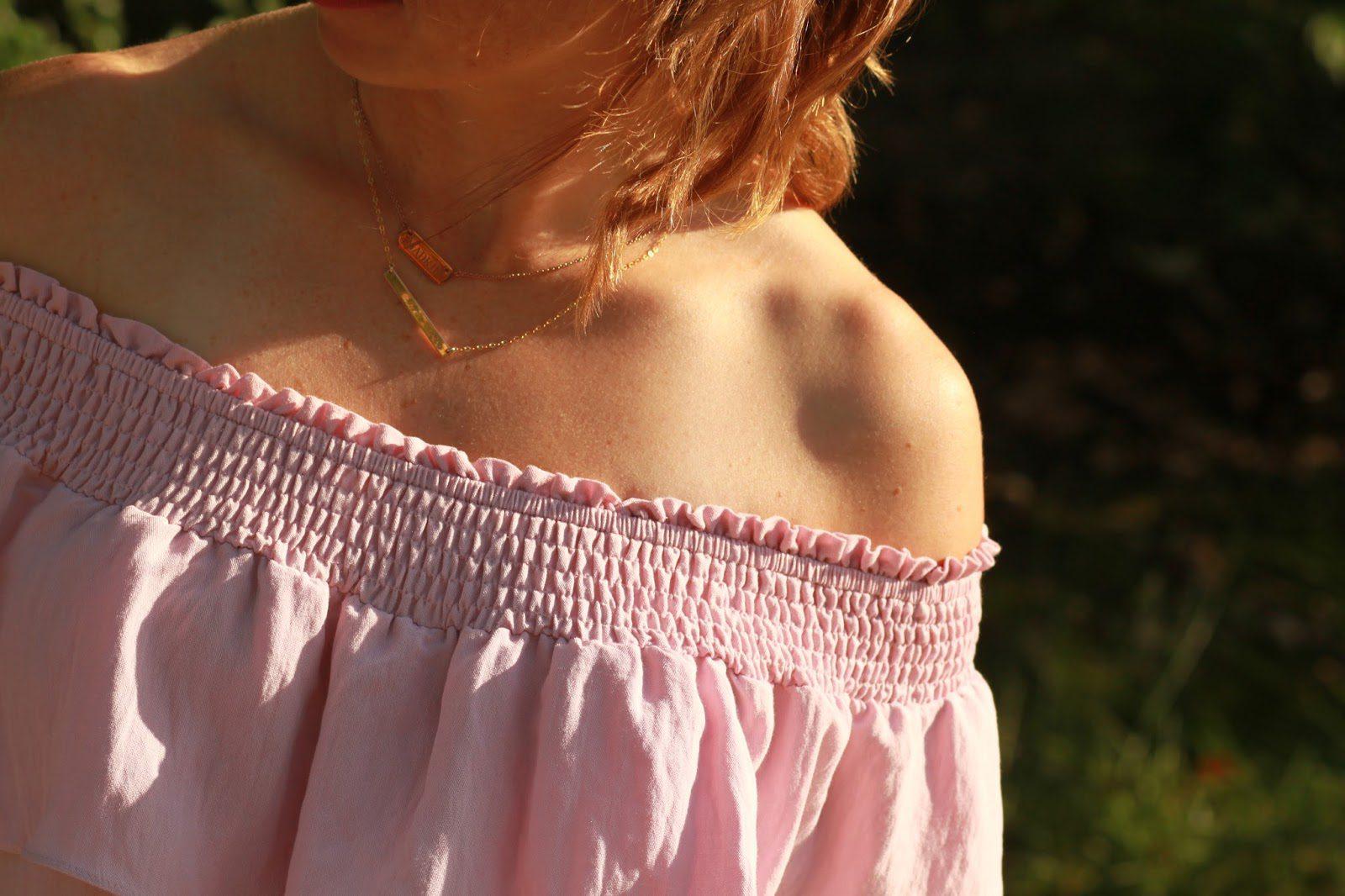 pink off the shoulder romper