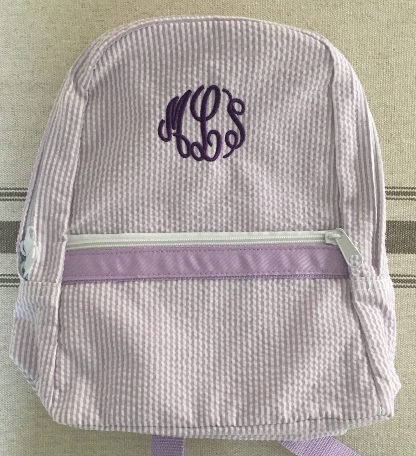 seersucker toddler monogram backpack