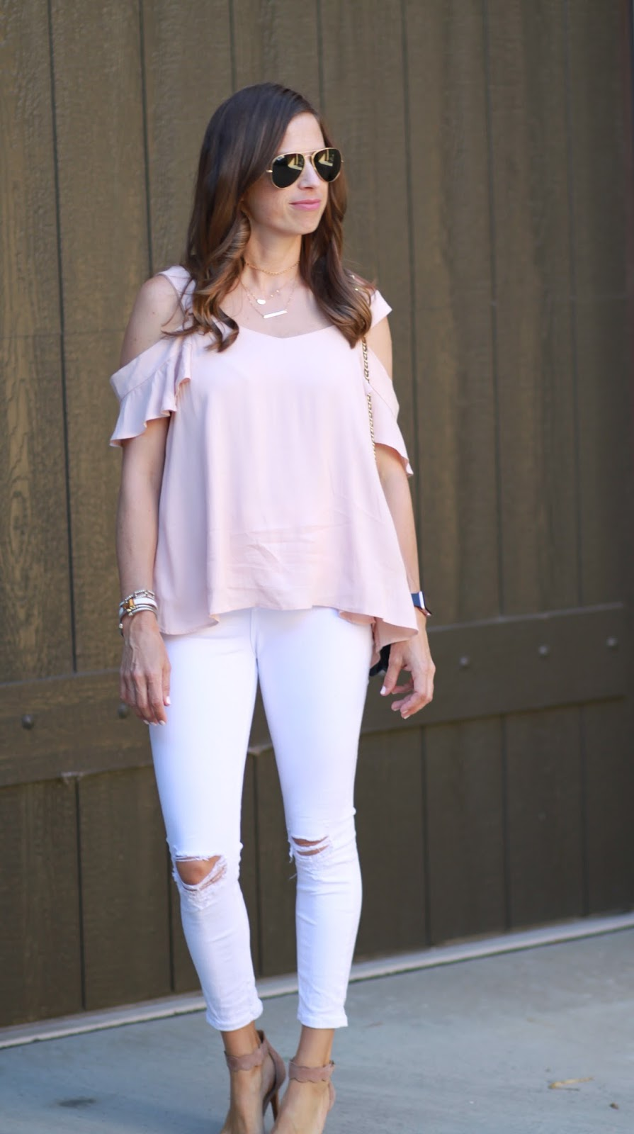 blush cold shoulder outfit