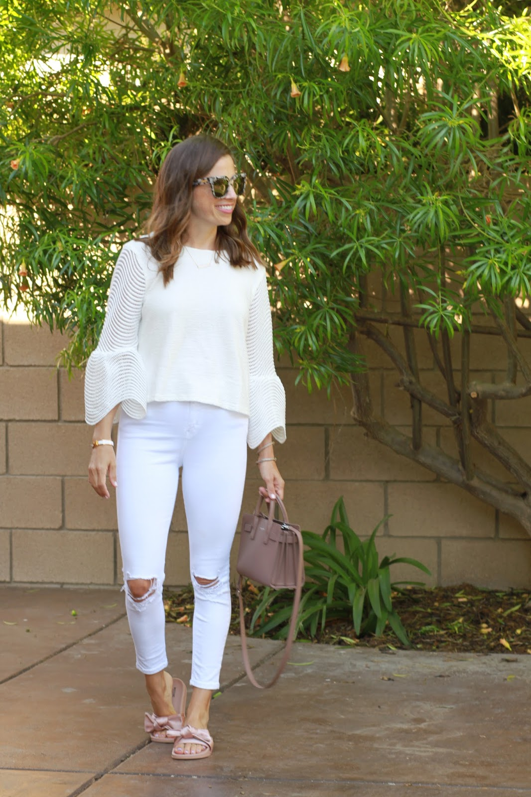 white bell sleeve top outfit