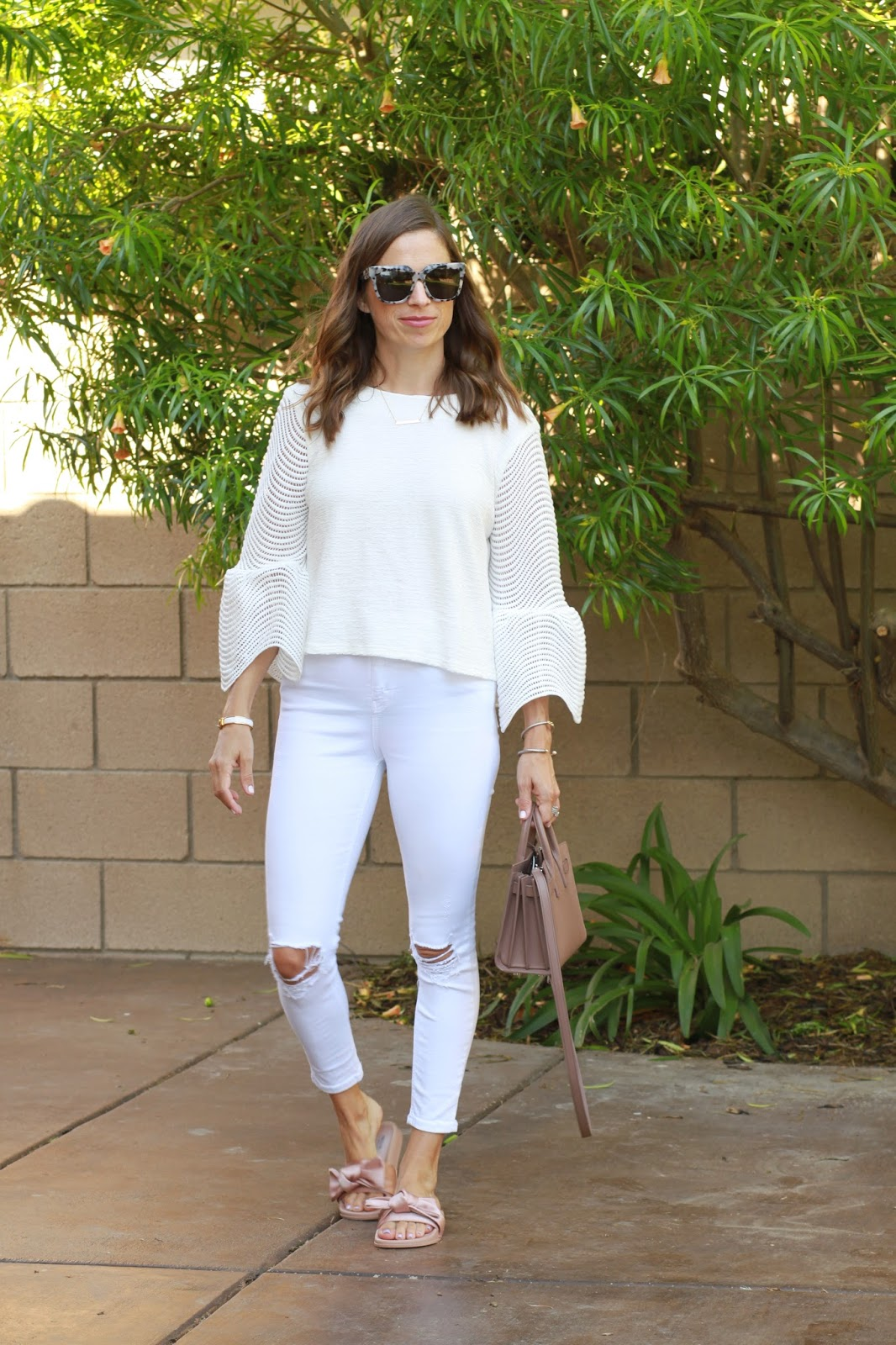 all white bell sleep top outfit