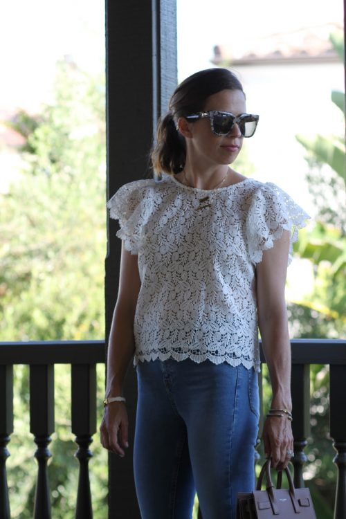 white lace flutter sleeve