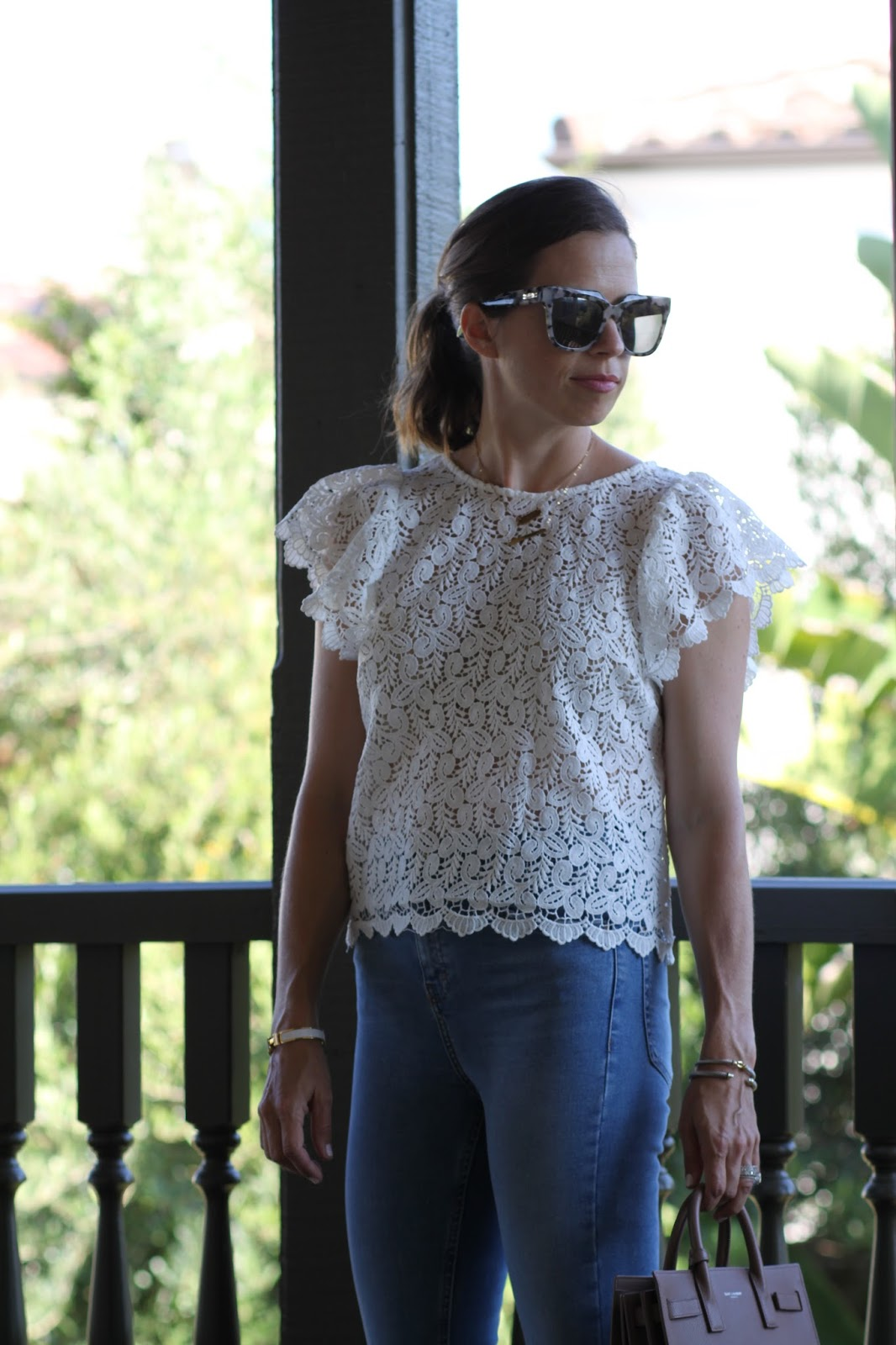 white lace top outfit