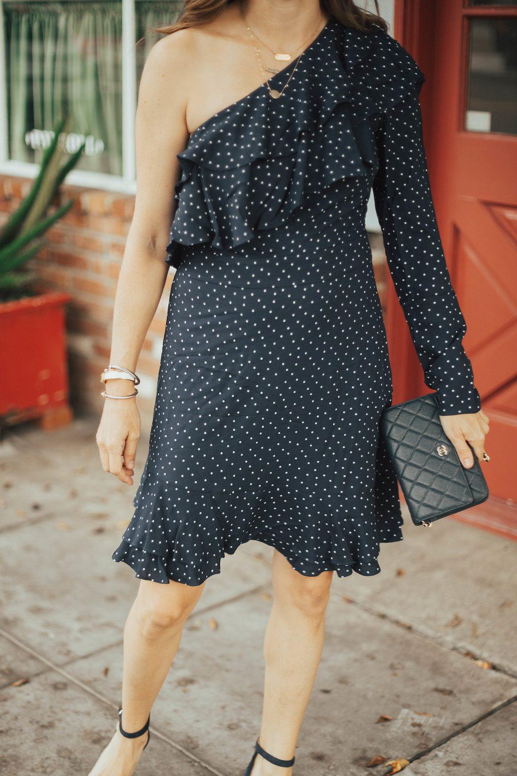 one shoulder ruffle dress oufit