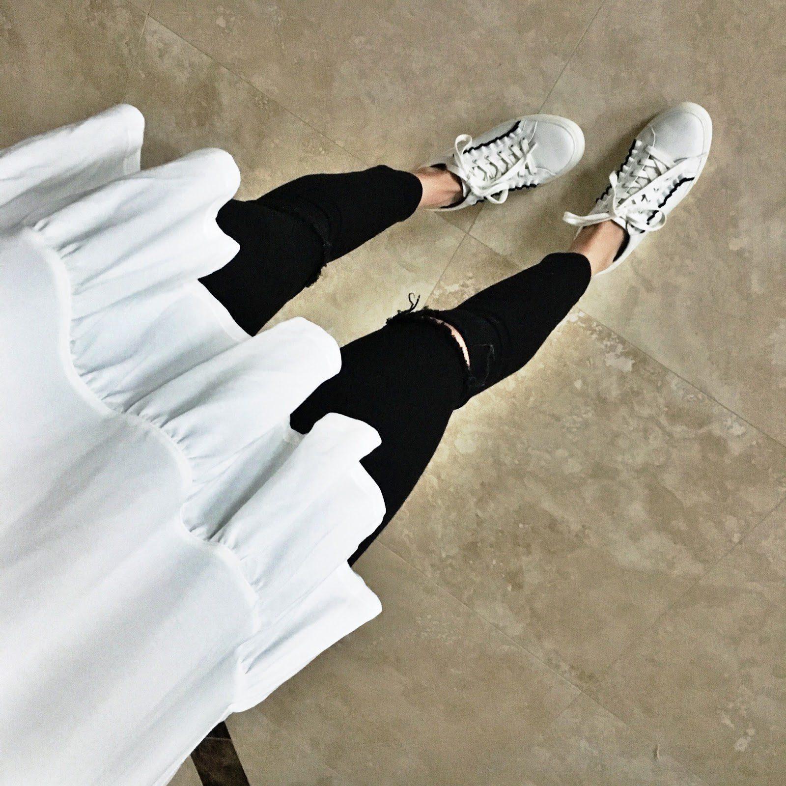 white ruffle sneaker