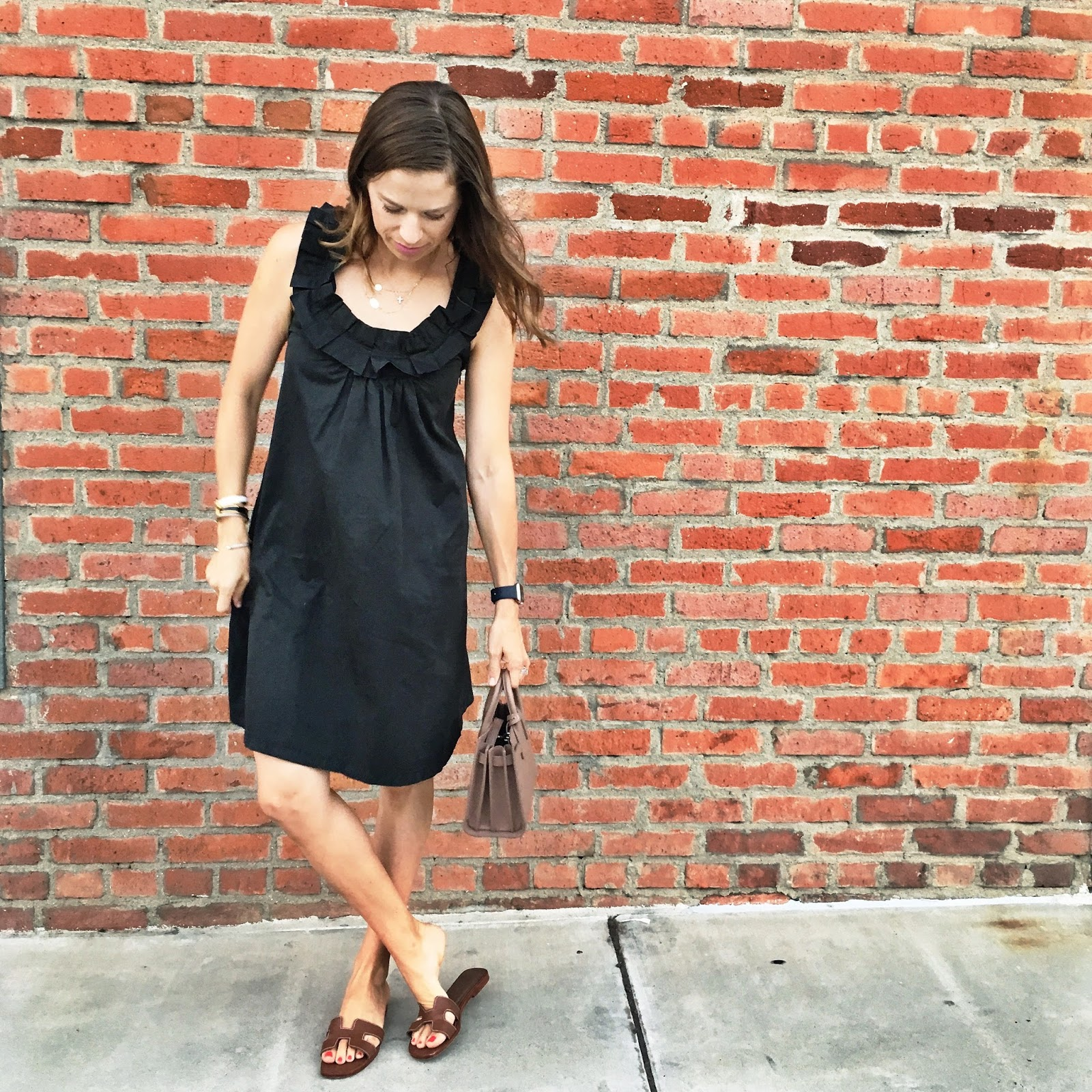 black ruffle sundress