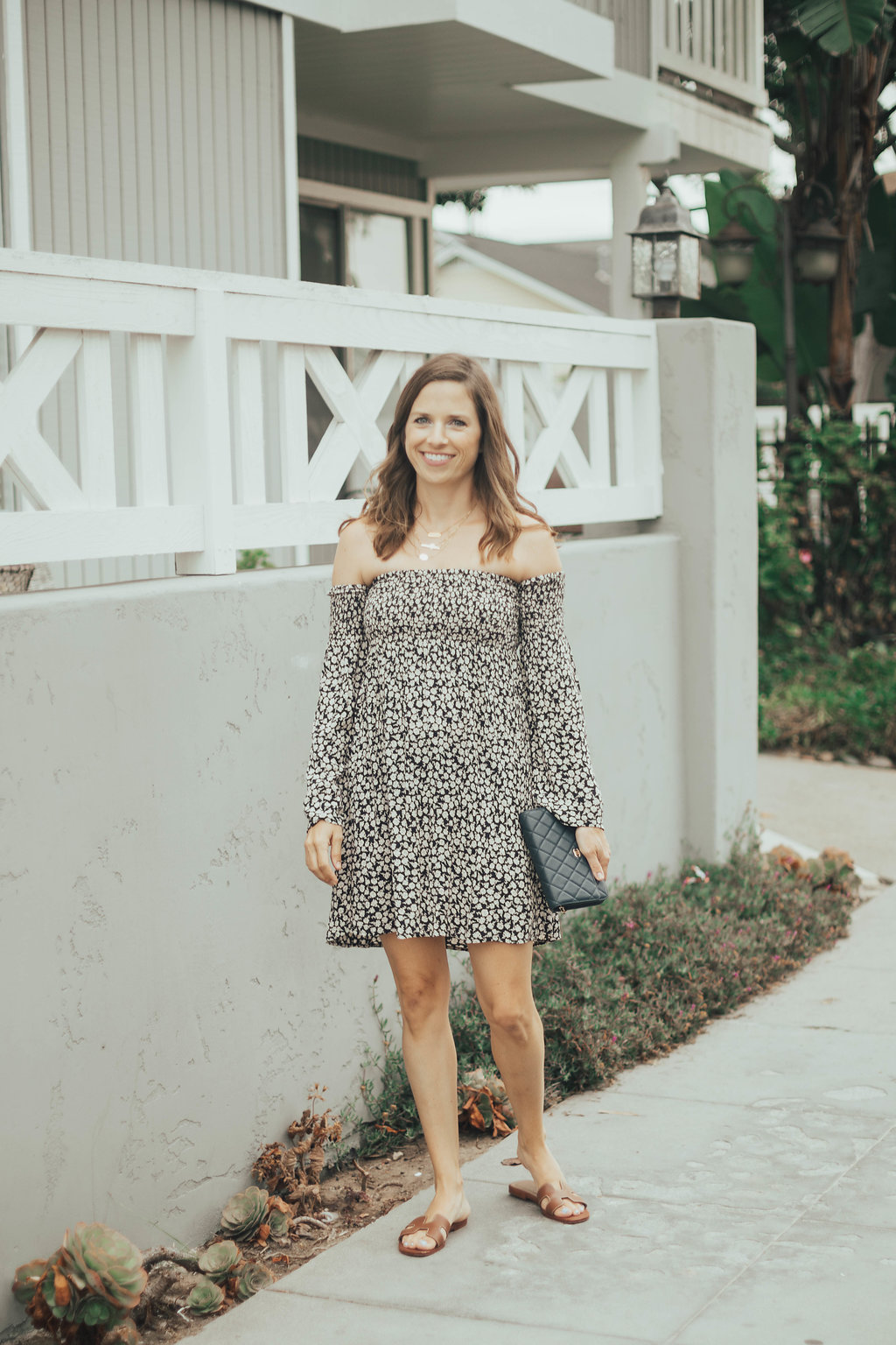 smocked off the shoulder dress
