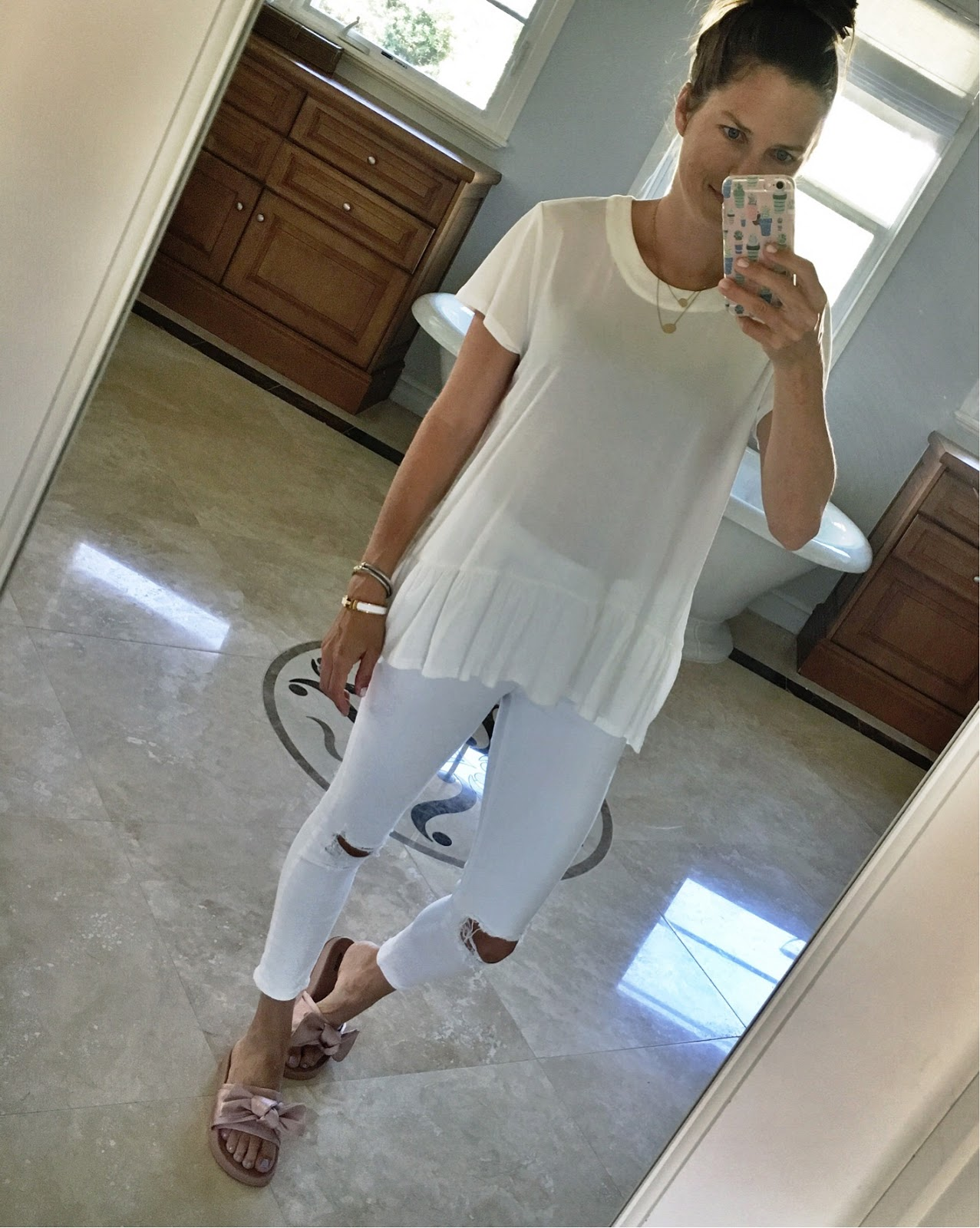 all white outfit with slides