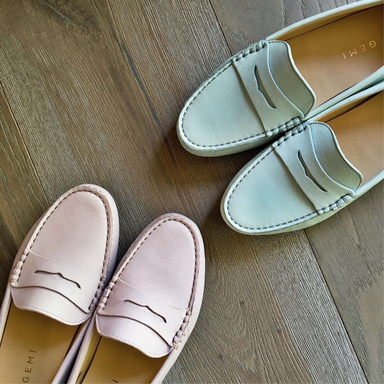 blush pink loafers