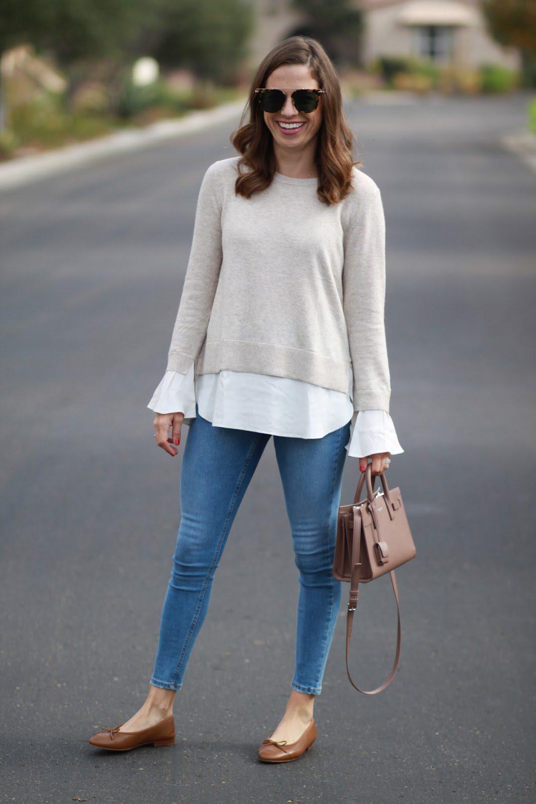 ruffle cuff sweater outfit