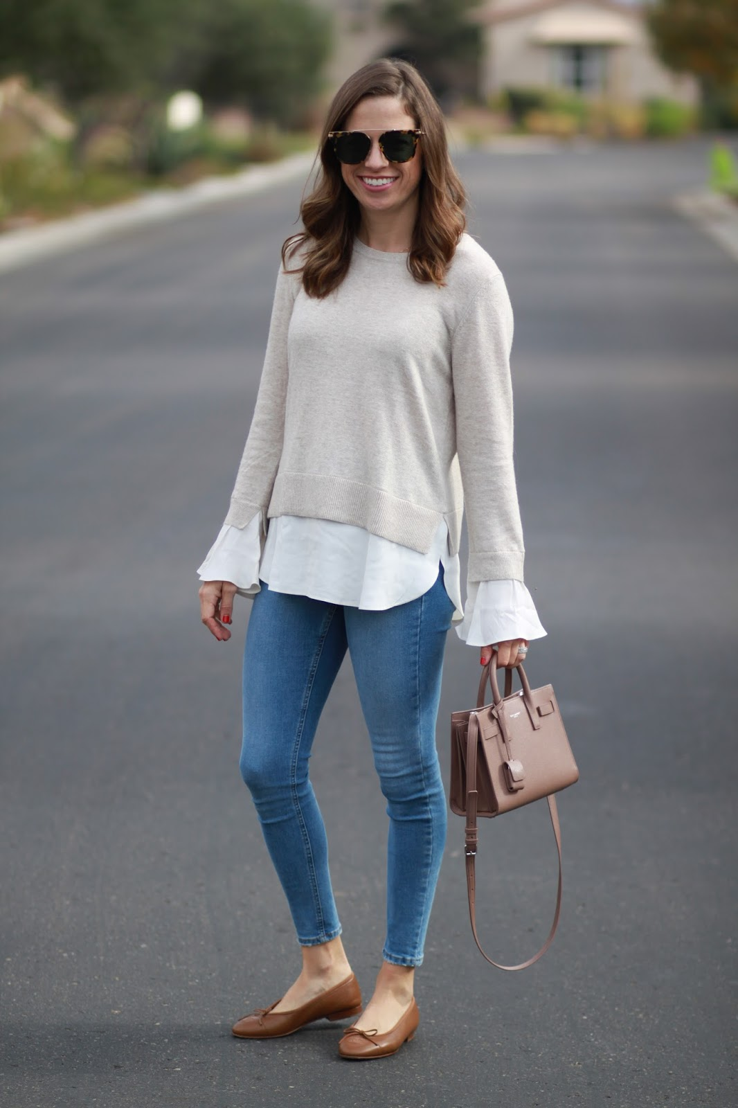 two in one sweater top outfit
