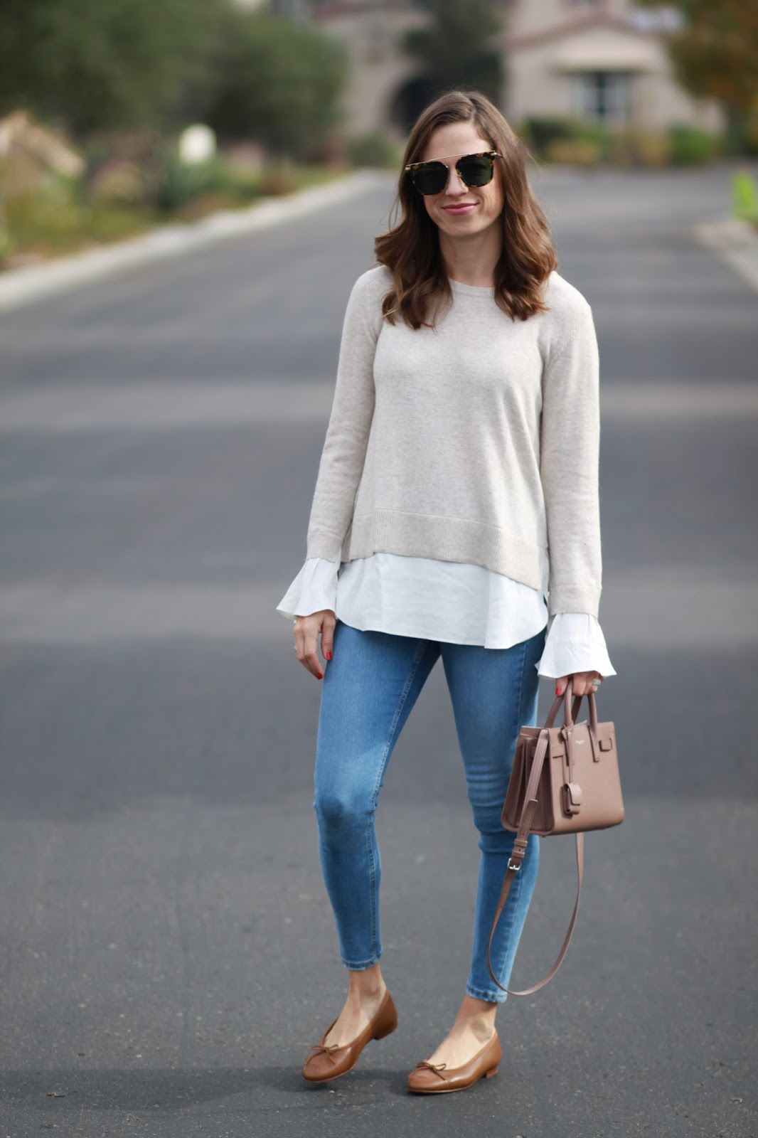 brown chanel flats outfit