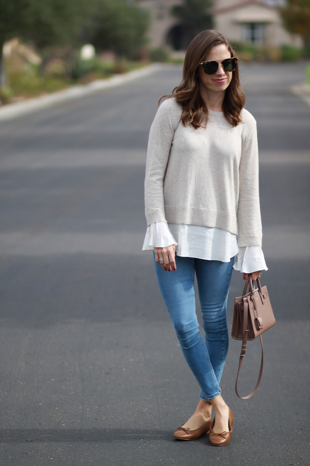 flowy sweater and chanel outfit