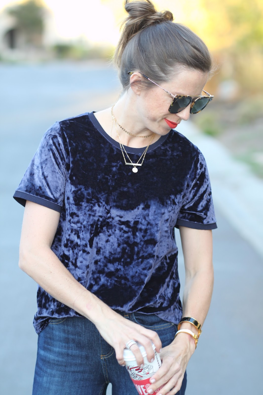 velvet tee and gold choker