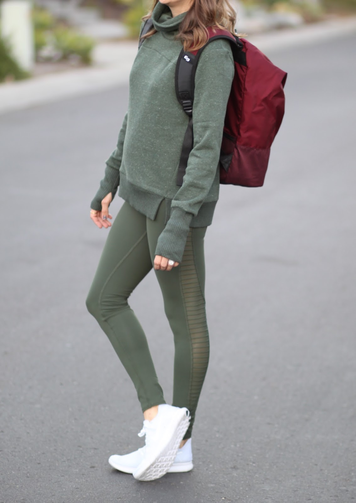 green moto leggings outfit