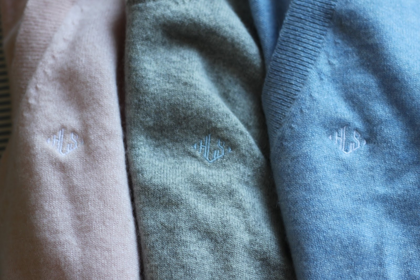 monogrammed cashmere sweaters