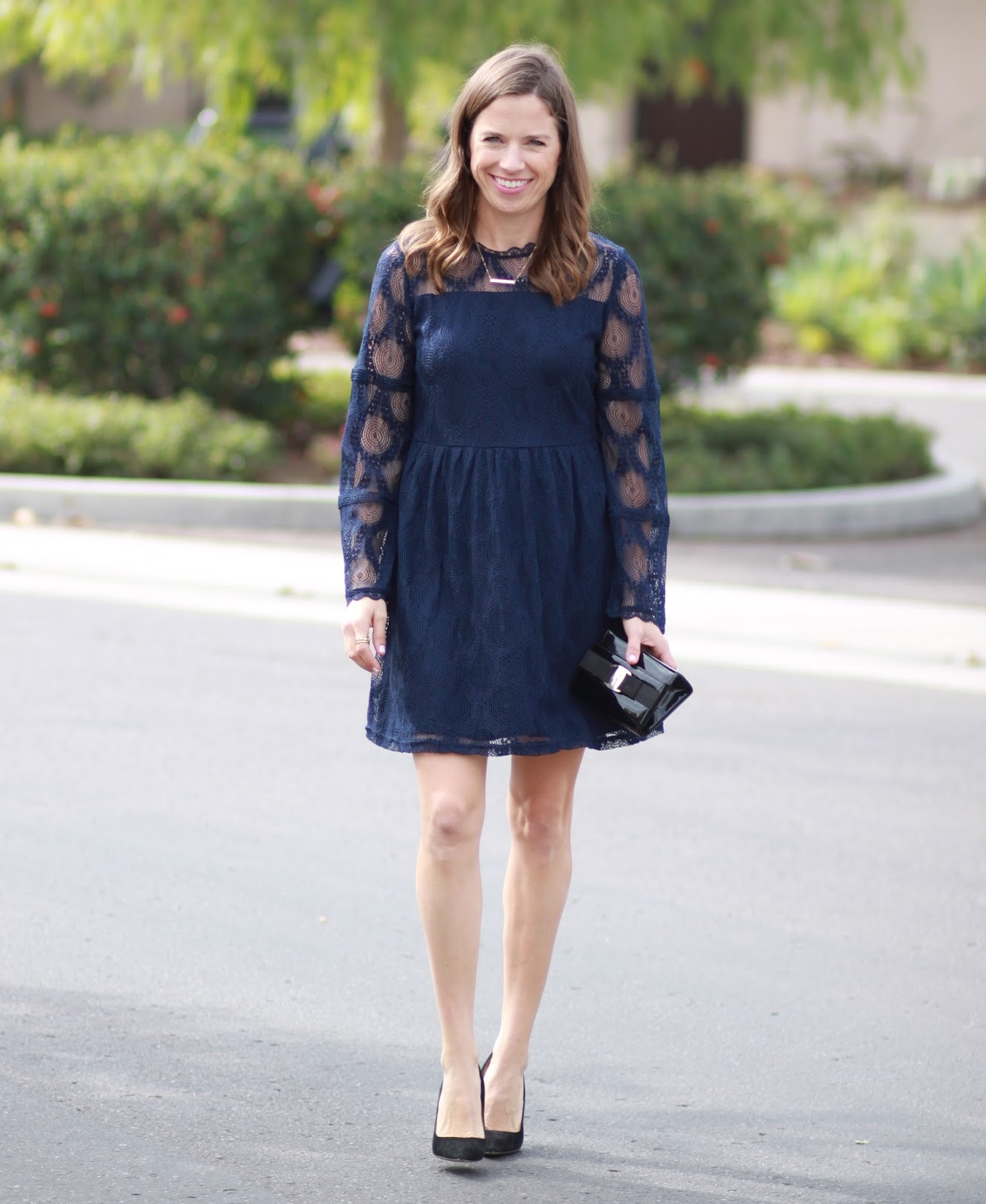 navy bell sleeve dress