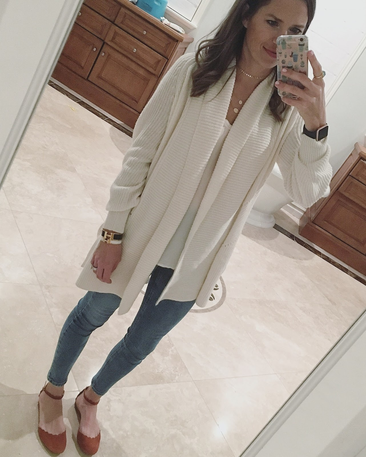 oversized open front cardigan outfit