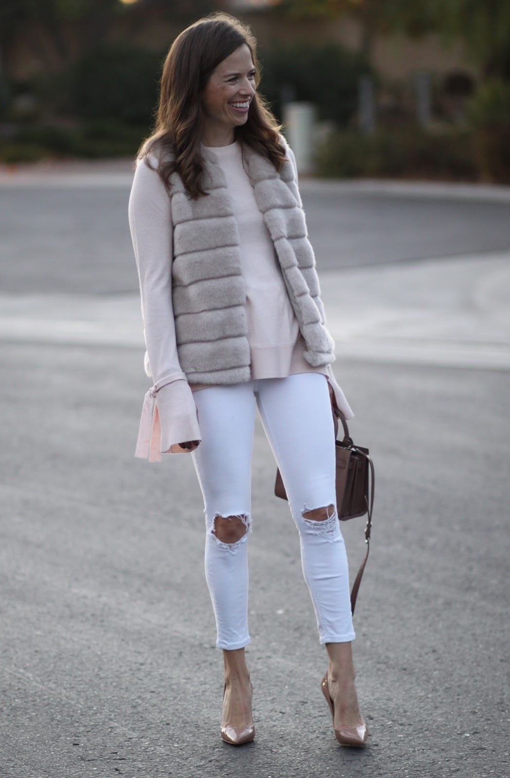louboutin and white jeans outfit