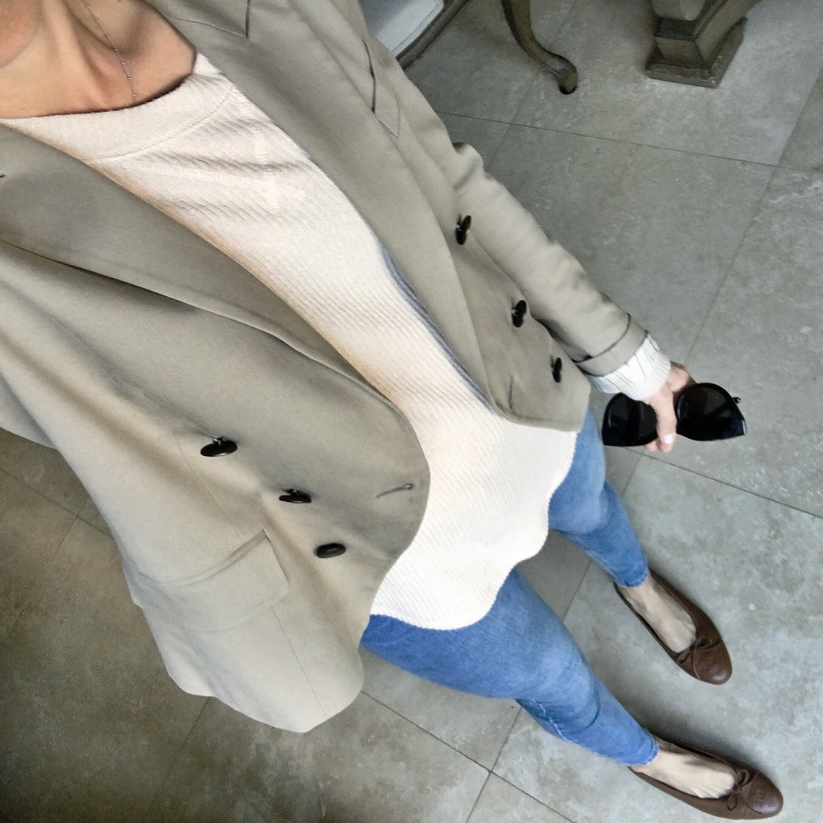 neutral blazer and chanel flats