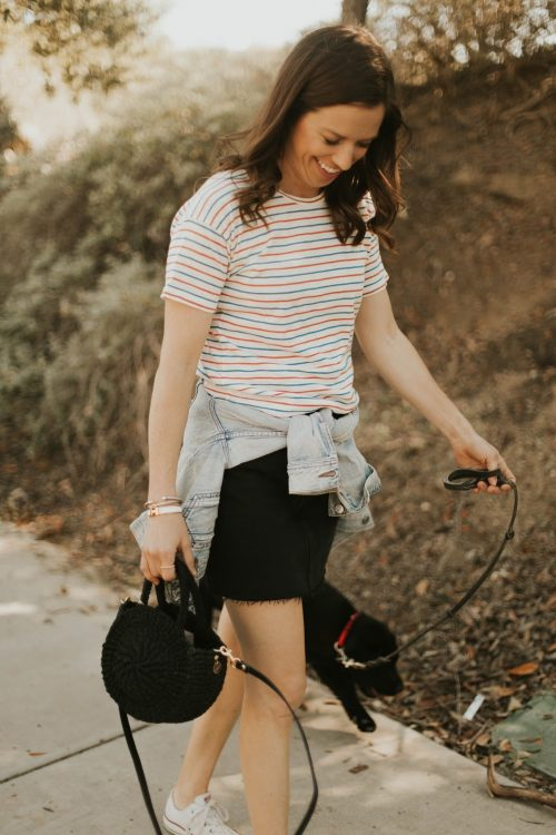 stripe tee and black denim
