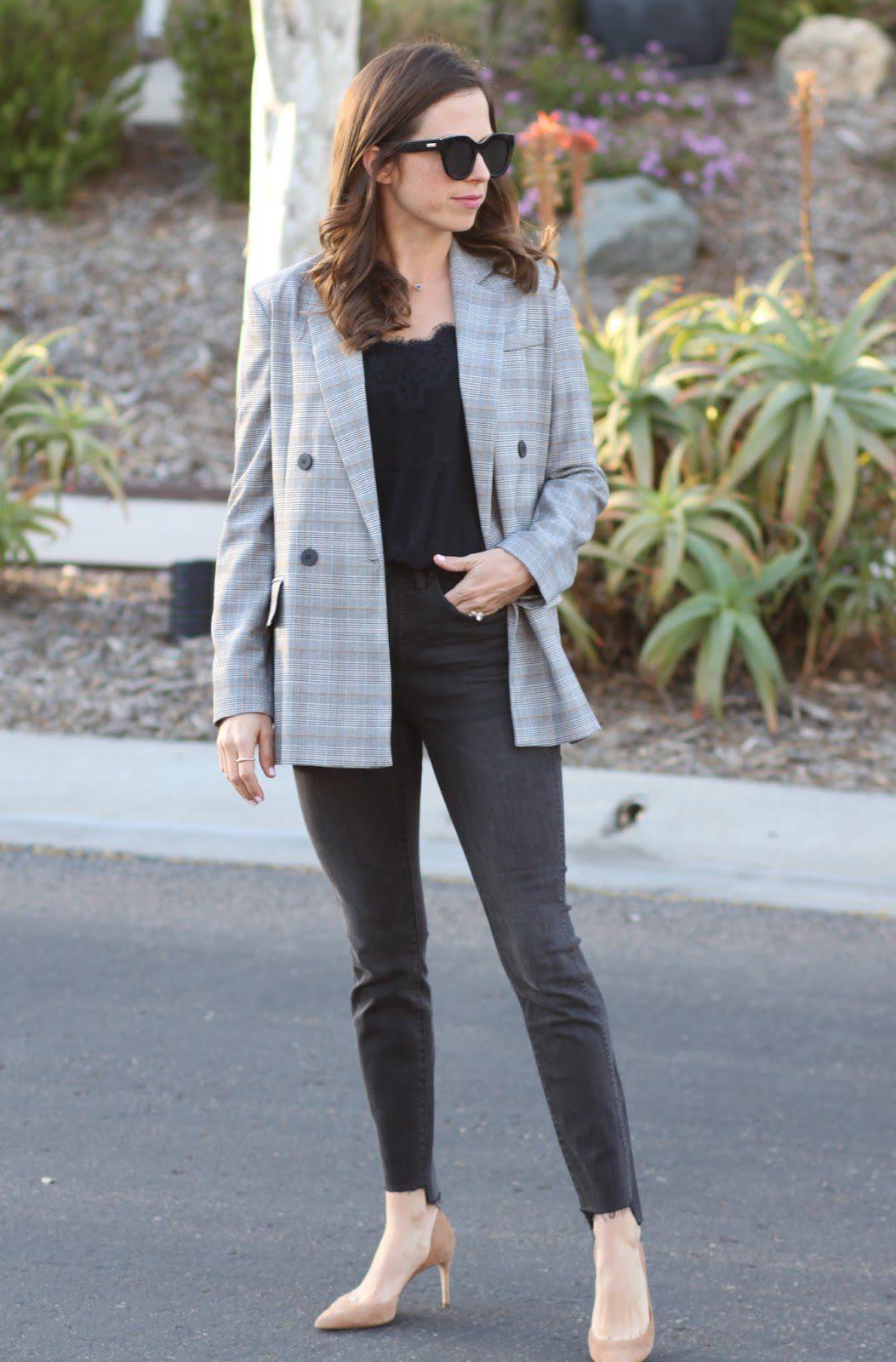oversized plaid blazer outfit