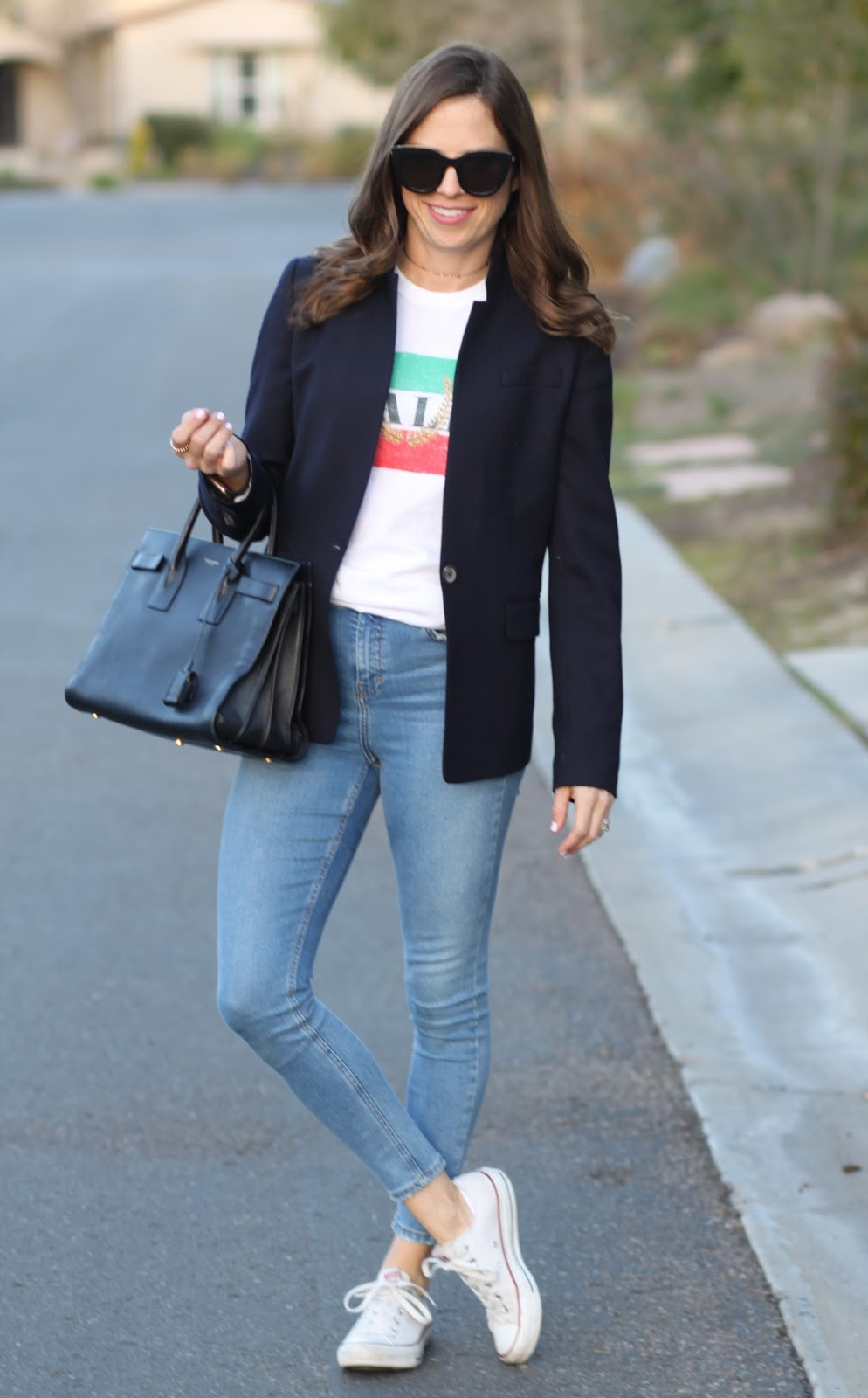 blazer and skinny jeans outfit