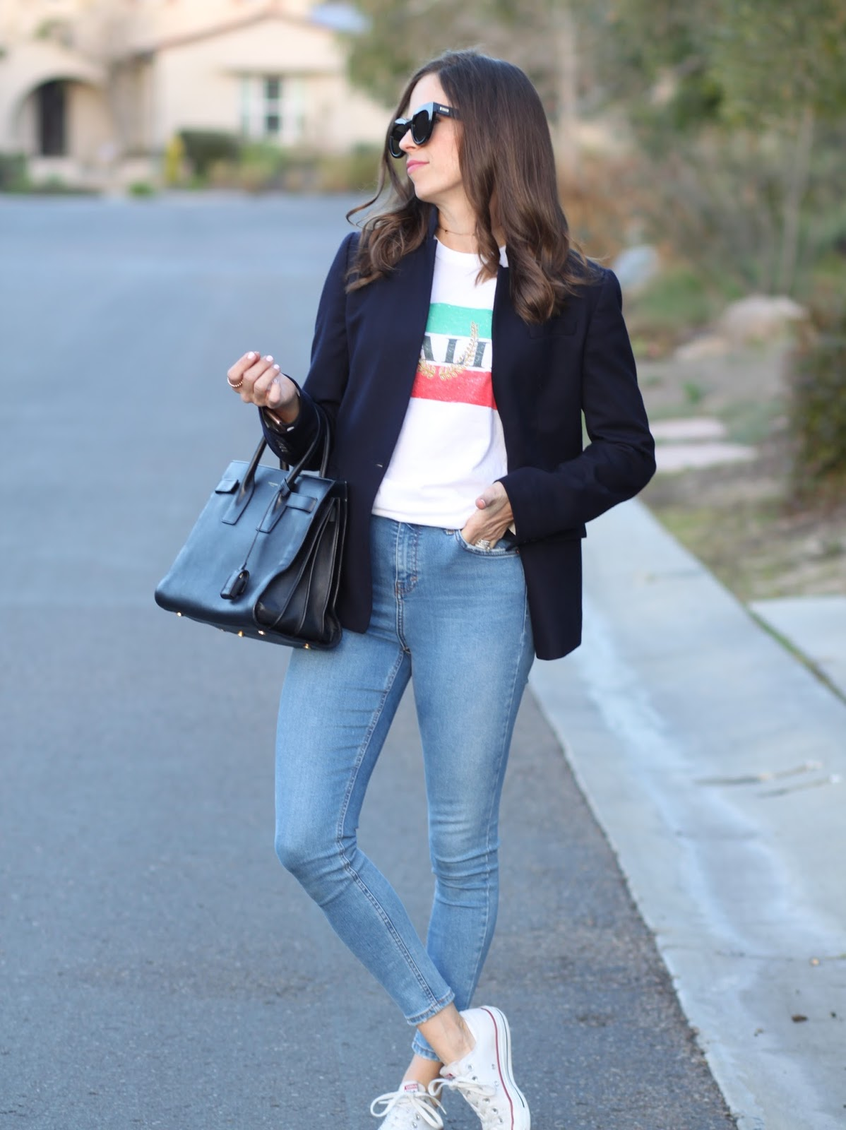 saint laurent and blazer outfit