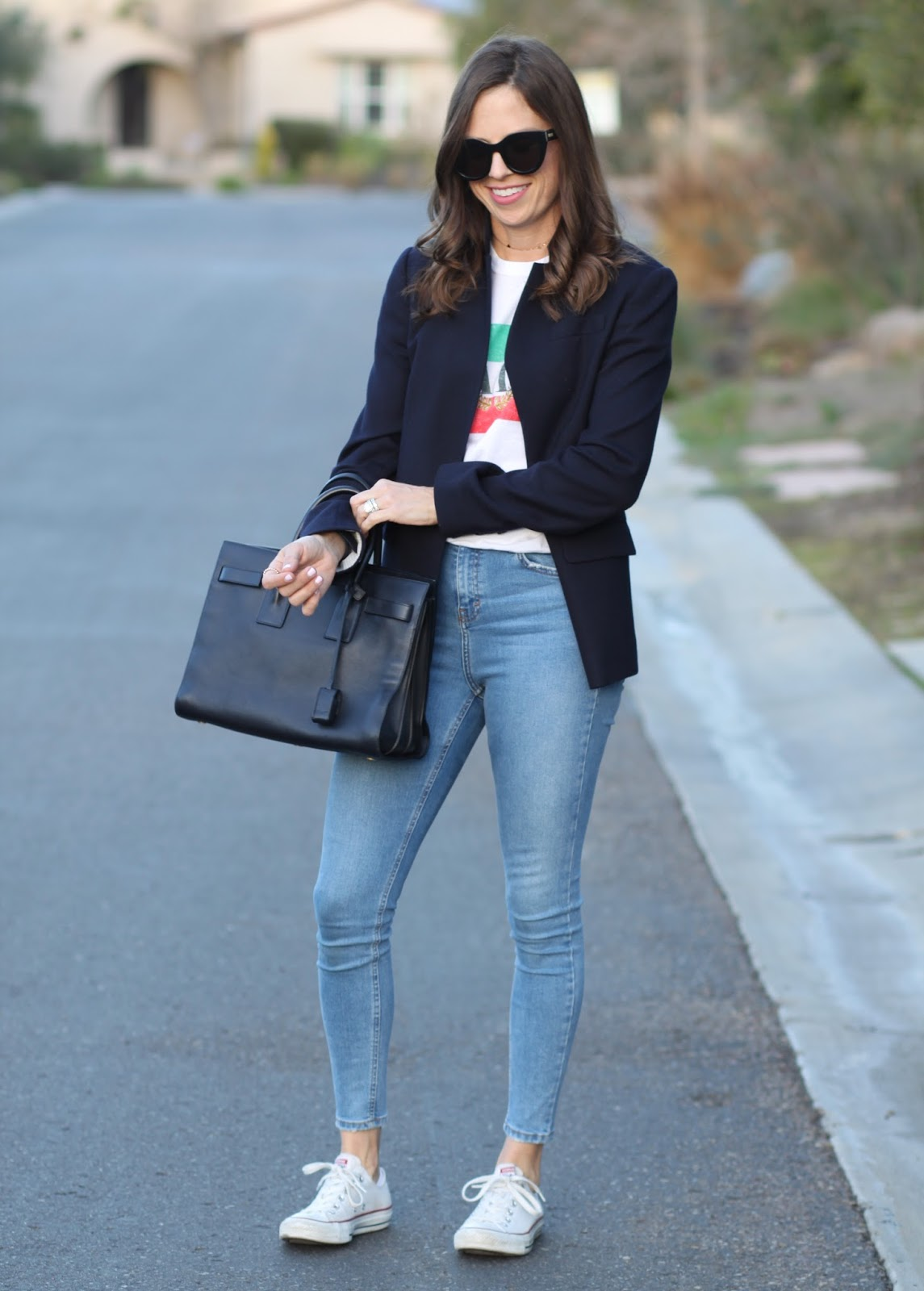 tee, blazer and saint laurent bag