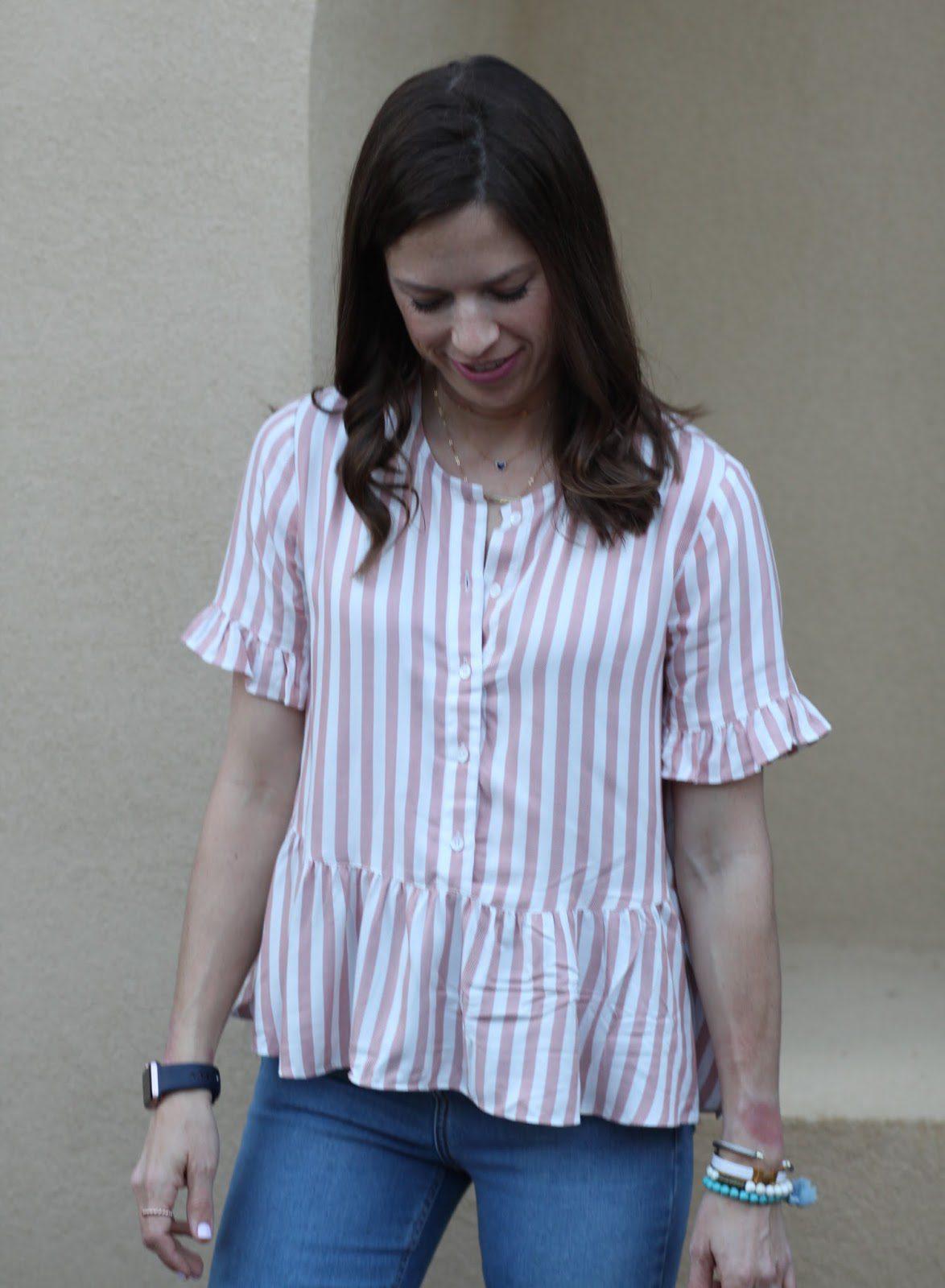 striped ruffle top