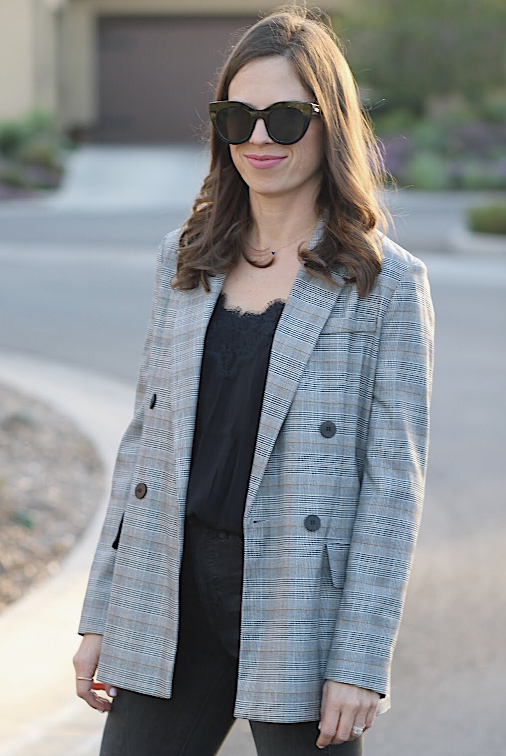 plaid blazer outfit