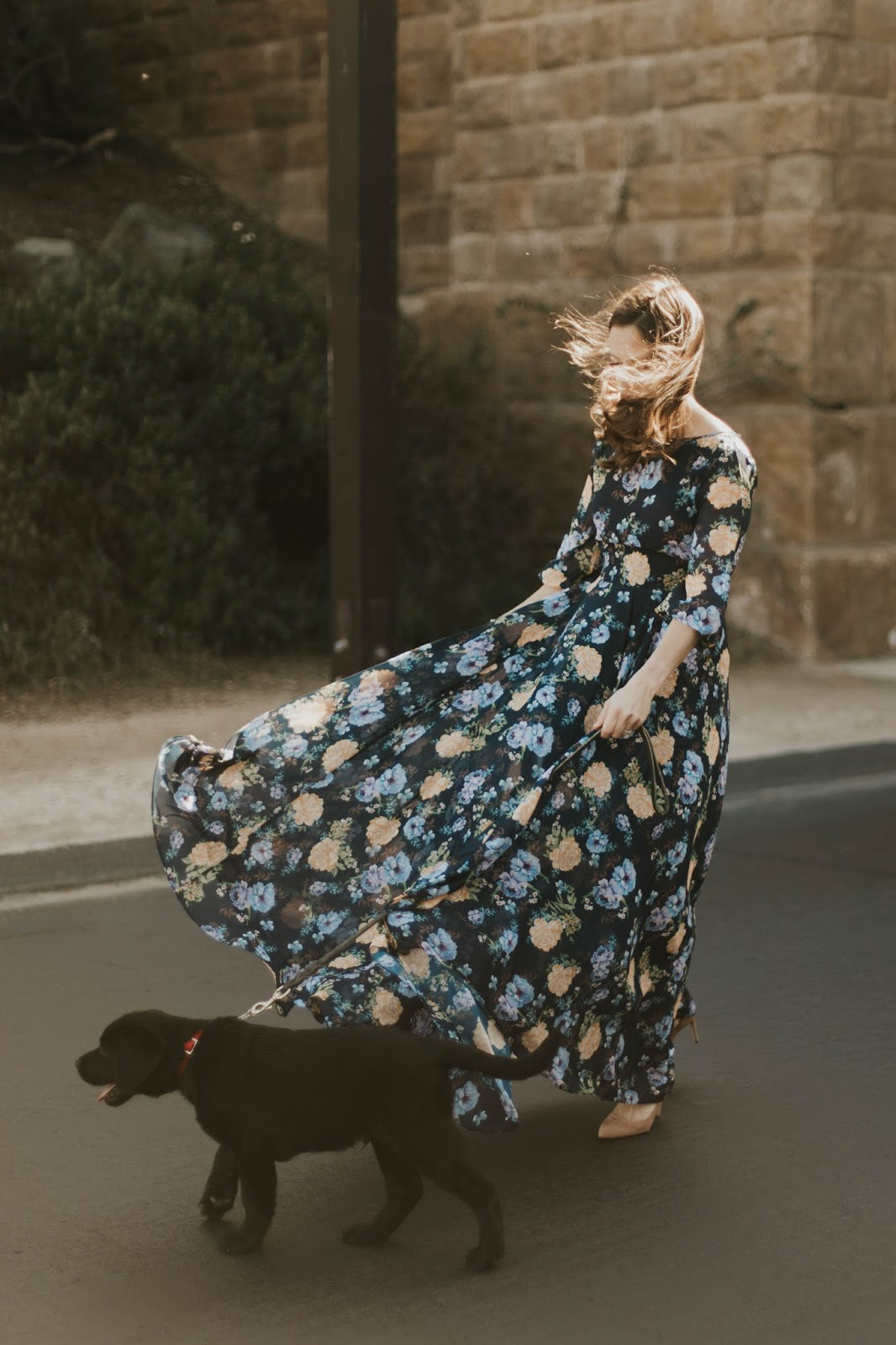 floral dress in the wind