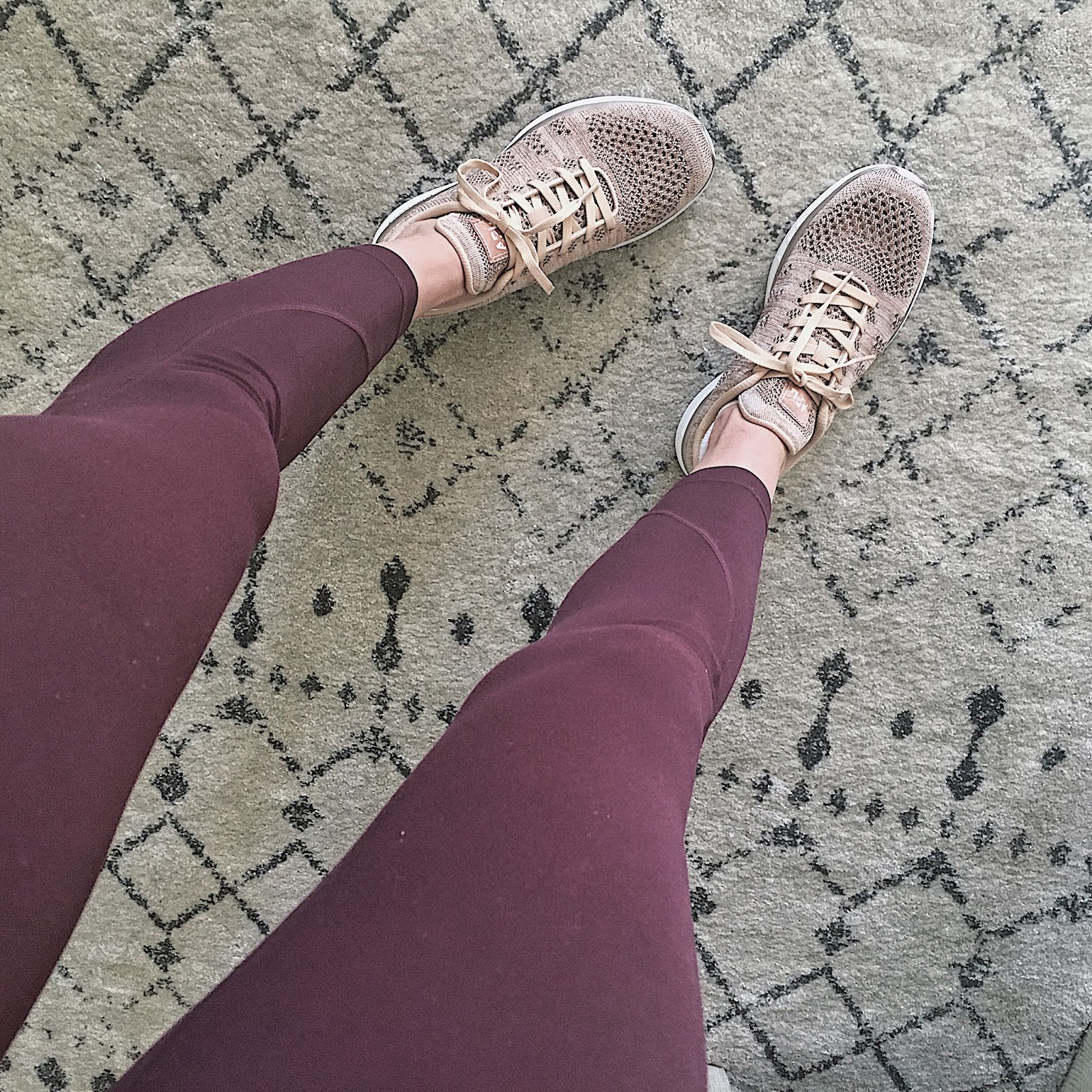 best workout leggings and rose gold sneakers