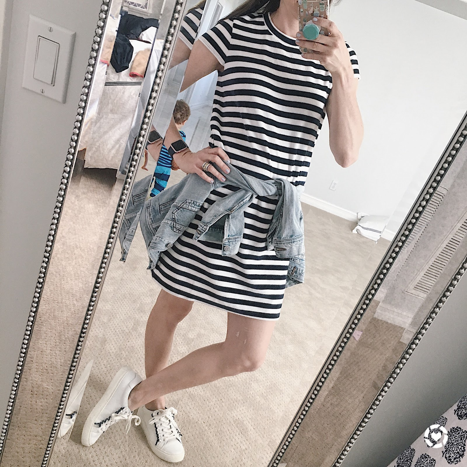velour striped dress