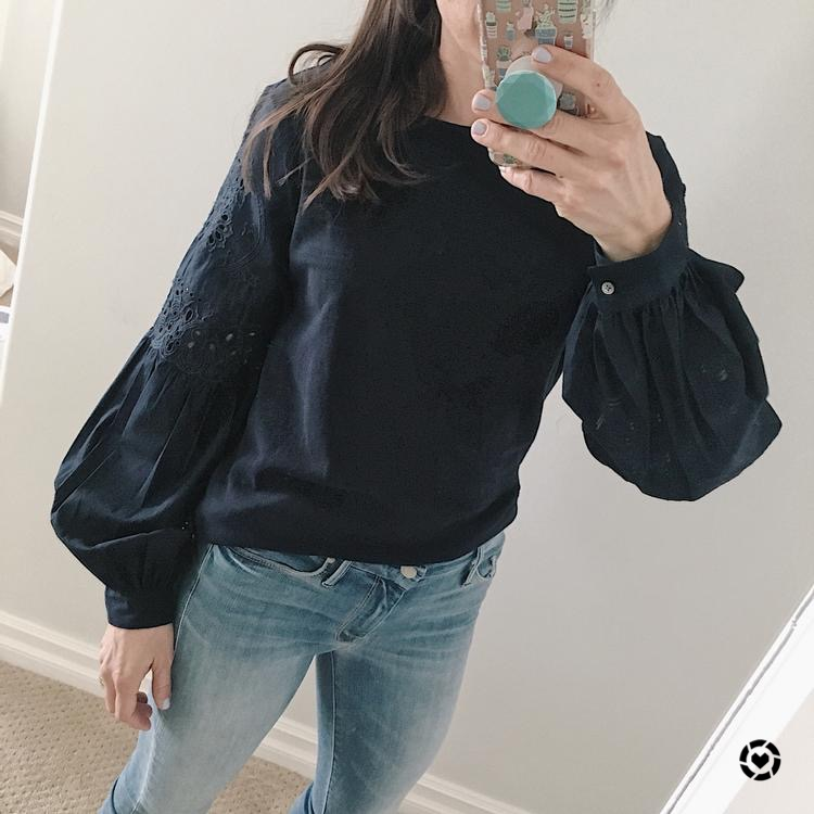 navy blouson top